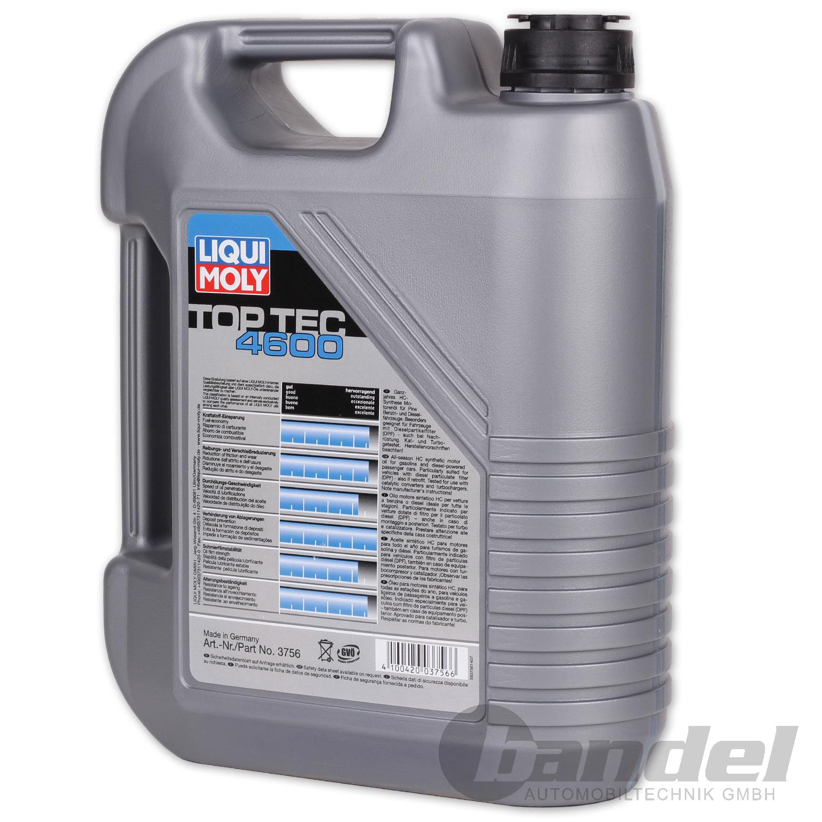 8 18 l liqui moly top tec 4600 5w 30 motor l l 5 liter opel gm dexos 2 vw ebay. Black Bedroom Furniture Sets. Home Design Ideas