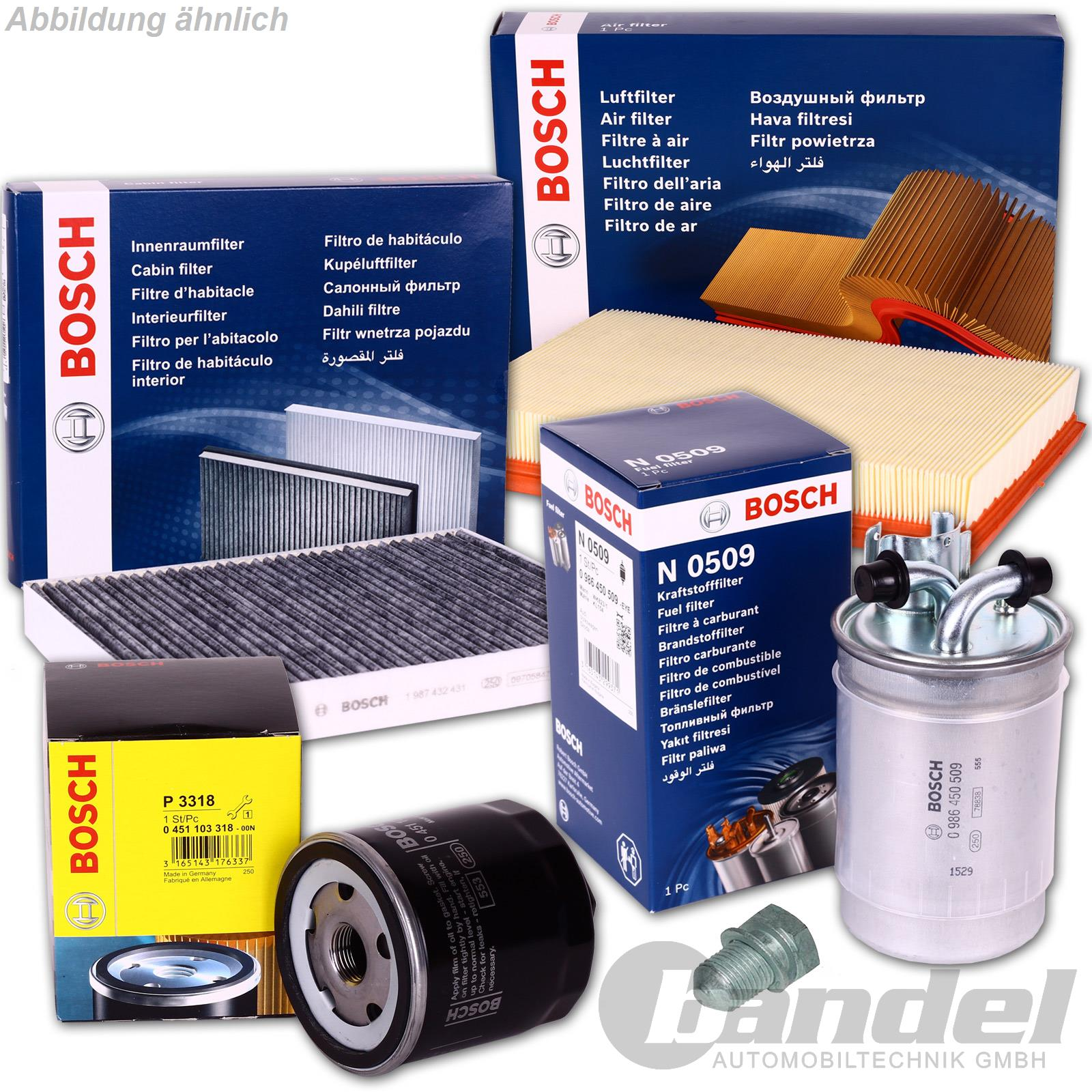 bosch filter set l luft kraftstoff innenraum filter vw. Black Bedroom Furniture Sets. Home Design Ideas