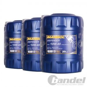 [2,03€/L] 3x20 Liter SAE 10W-40 Mannol Defender Motoröl z.B. VW, AUDI, MERCEDES