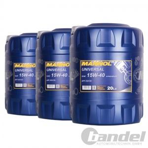 [1,82€/L] 3x20 Liter MANNOL SAE 15W40 Universal Motoröl mineralisch API SG/CD
