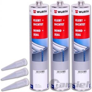 [€2,61/100ml] 3x WÜRTH Konstruktionsklebstoff Klebt + Dichtet 300ml weiss
