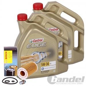 Bosch ÖLFILTER 0451203087 + 10 Liter MOTORÖL 5W-30 Castrol Edge + Schraube WV T4