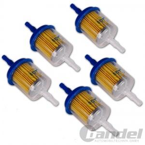 5x Kraftstoff-Leitungsfilter Feinstfilter 6/8 mm Benzinfilter Dieselfilter Unive