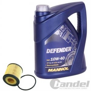 ÖLFILTER SCT SH443P + 5 Liter Motoröl MANNOL DEFENDER SAE 10W-40 SN/CF A3/B4