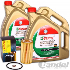 BOSCH ÖLFILTER + 10 Liter Motoröl CASTROL Edge 5W-30 BMW 3er 5er X3 X5 X6