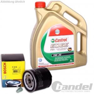 Bosch ÖLFILTER + 5 Liter MOTORÖL 5W-30 Castrol Edge TITANIUM LL Schraube VW Golf
