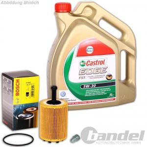 Bosch ÖLFILTER 1457429192 + 5 Liter MOTORÖL 5W-30 Castrol Edge +Schraube VW AUDI