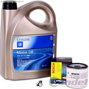 Bosch ÖLFILTER 0451103370 + 5 Liter MOTORÖL 5W-30 Genuine GM + Schraube Opel