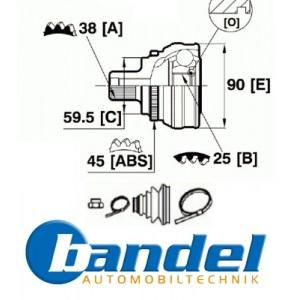 ANTRIEBSWELLEN GELENK-SATZ GELENK AUSSEN RADSEITIG AUDI 100 C3 80 B4 A6 C4 Pic:1