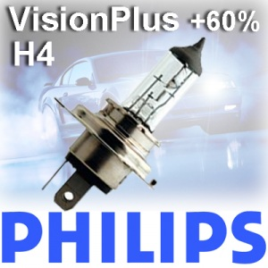 1 x PHILIPS H4 VisionPlus 60% mehr Licht 12V 60/55W Halogen VISION PLUS BLISTER