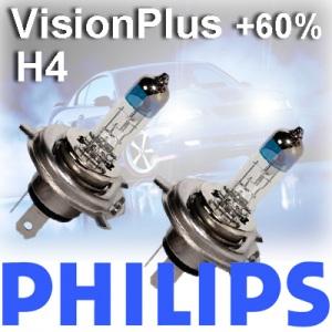 2 x Philips H4 VisionPlus Vision Plus +60% 2er Duo Set KFZ GLÜHLAMPEN HALOGEN