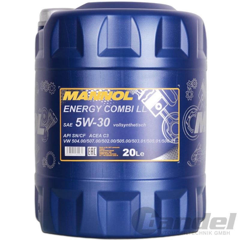 20 liter mannol energy combi ll 5w 30 motor l longlife 3. Black Bedroom Furniture Sets. Home Design Ideas