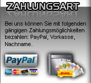 Zahlen Sie ihre Ersatzteile bequem mit Paypal, Vorkasse oder per Nachname