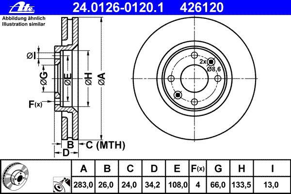 ATE BREMSSCHEIBEN 283mm C3 II C3 PICASSO BELÄGE VORNE CITROEN DS3