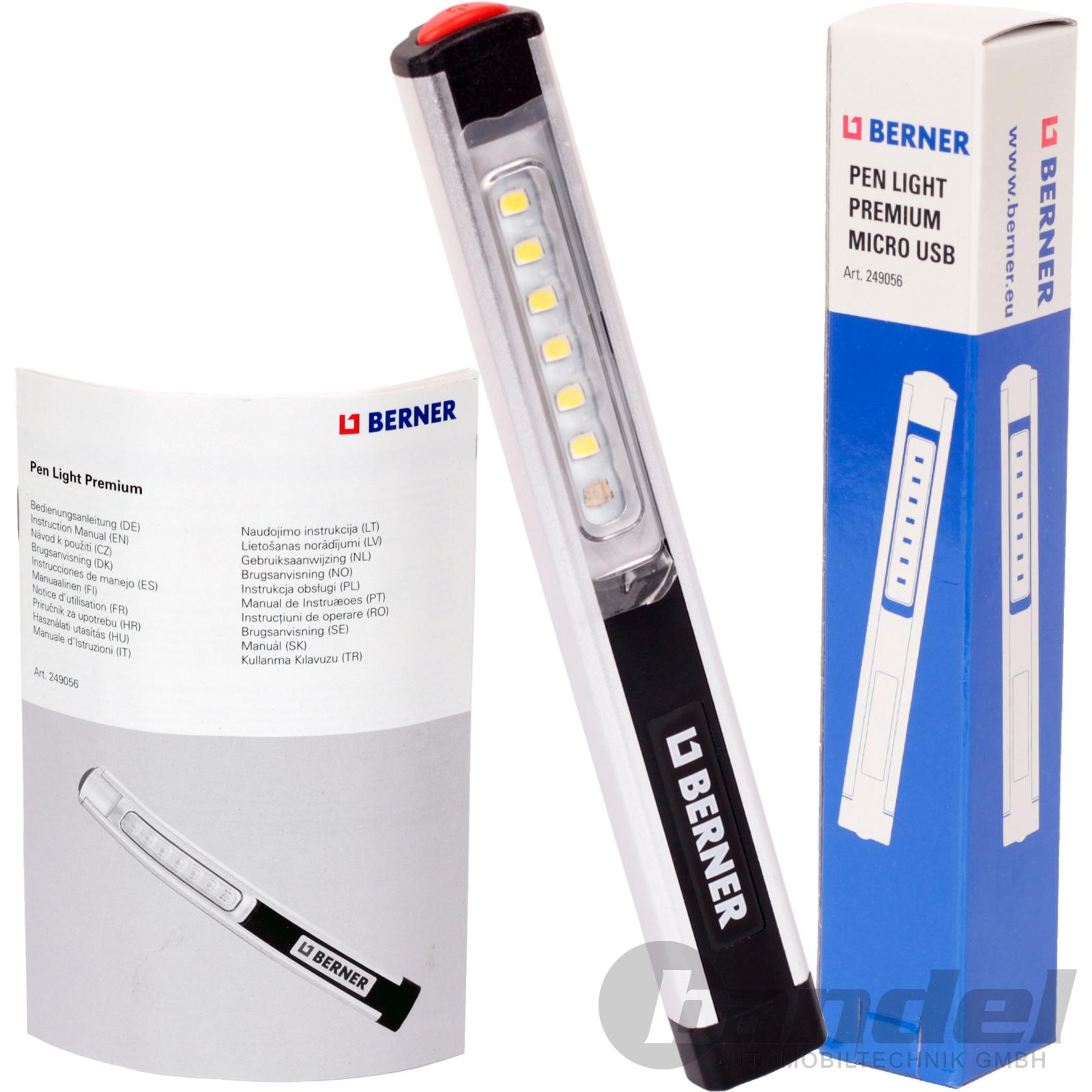 3x BERNER LED LAMPE PEN LIGHT PREMIUM USB LI IO AKKU