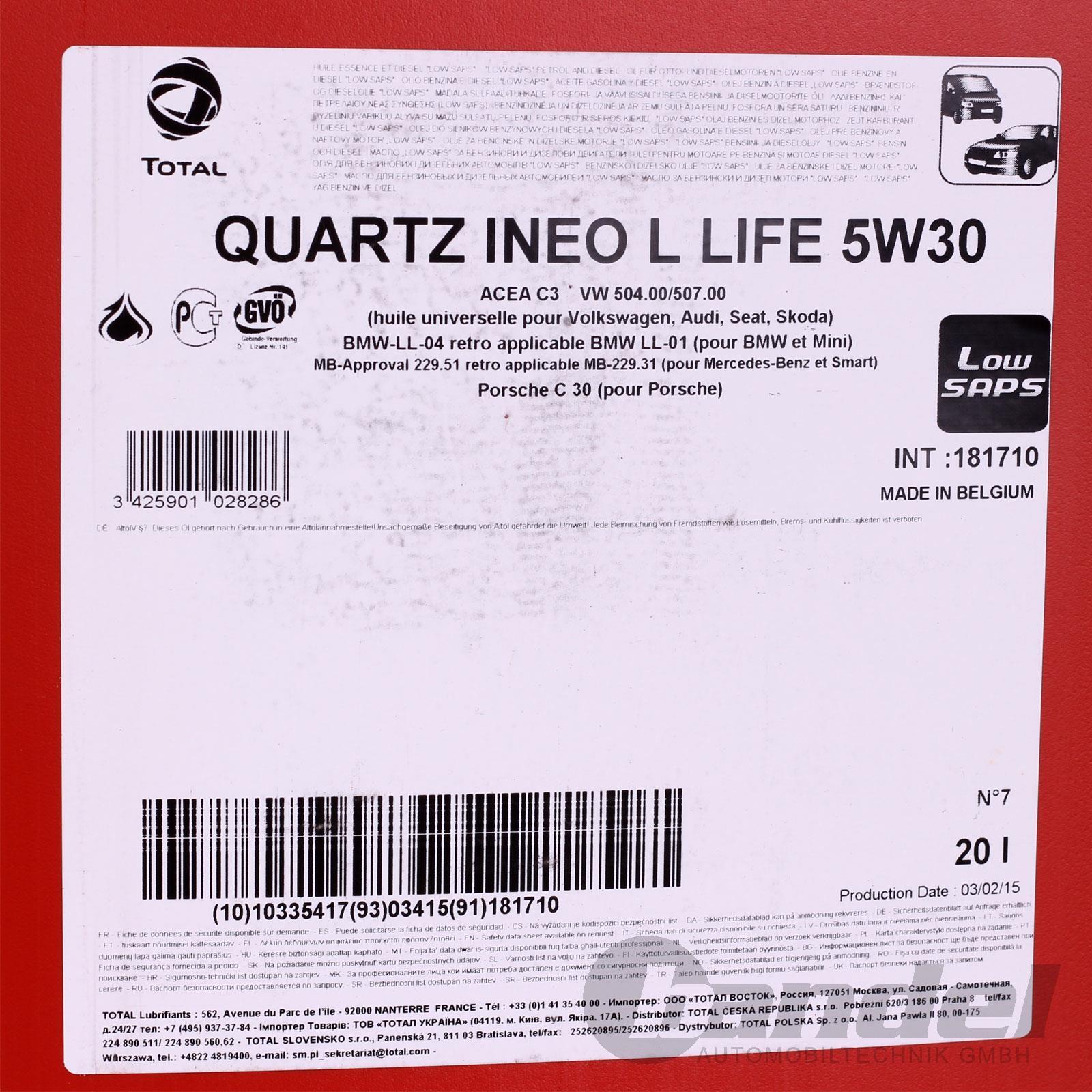 4 75 l 20l 5w 30 motor l total quartz ineo long life vw bmw ll 04 ebay. Black Bedroom Furniture Sets. Home Design Ideas