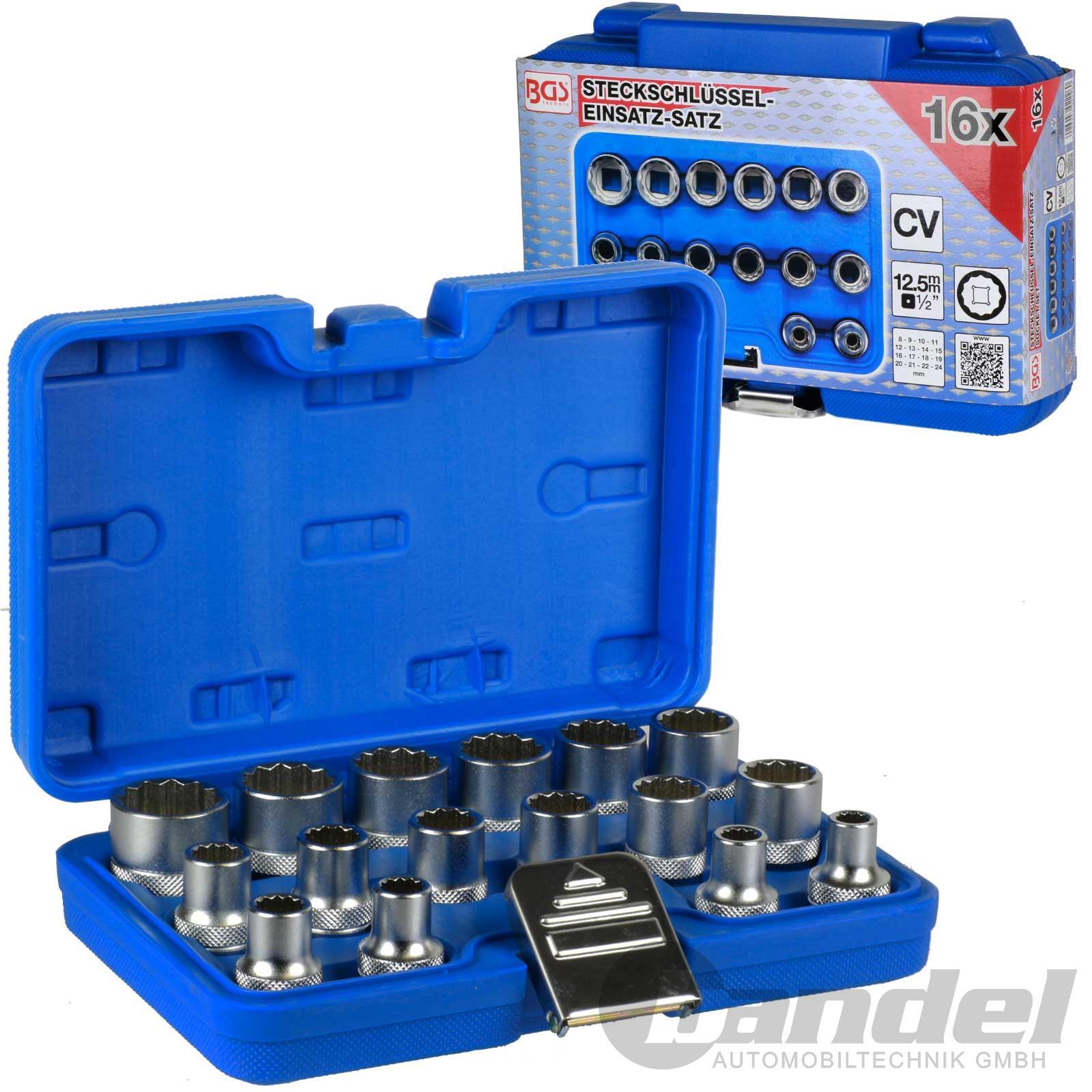 11 Teiliges Nüsse Ratsche Set mit 9 Nüssen von 8 mm bis 24 mm Verlängerung