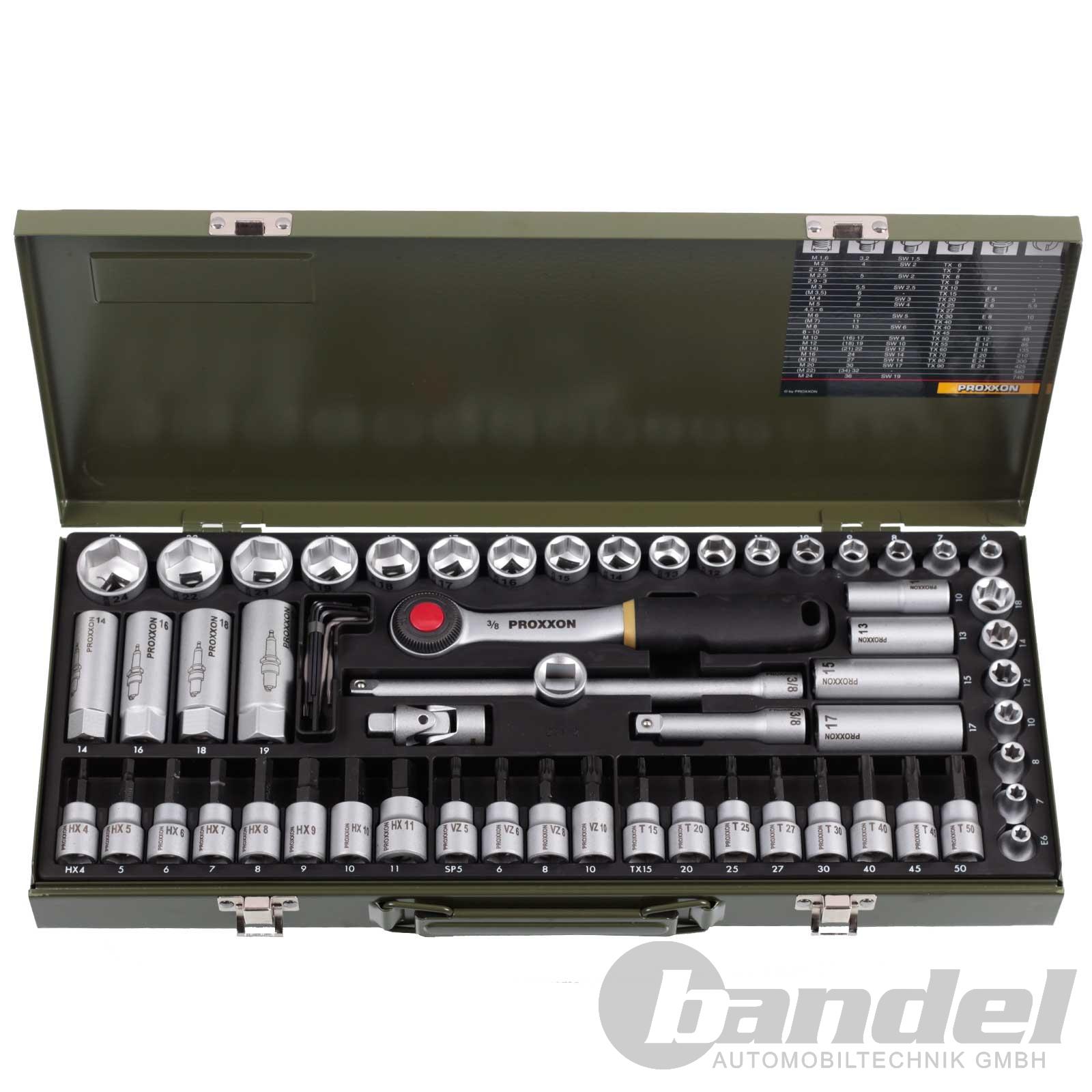 """Proxxon Compact Clés à Douille Set 3//8/"""" 65 pièces à cliquet encadré Noix Bits TX HX"""
