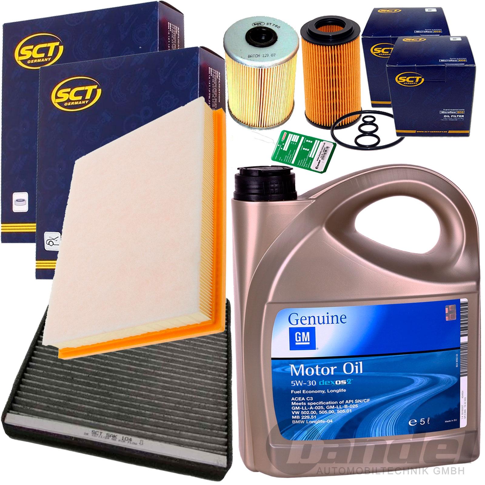 inspektionspaket filter set 5w30 motor l 2 0 2 2 dti 16v. Black Bedroom Furniture Sets. Home Design Ideas