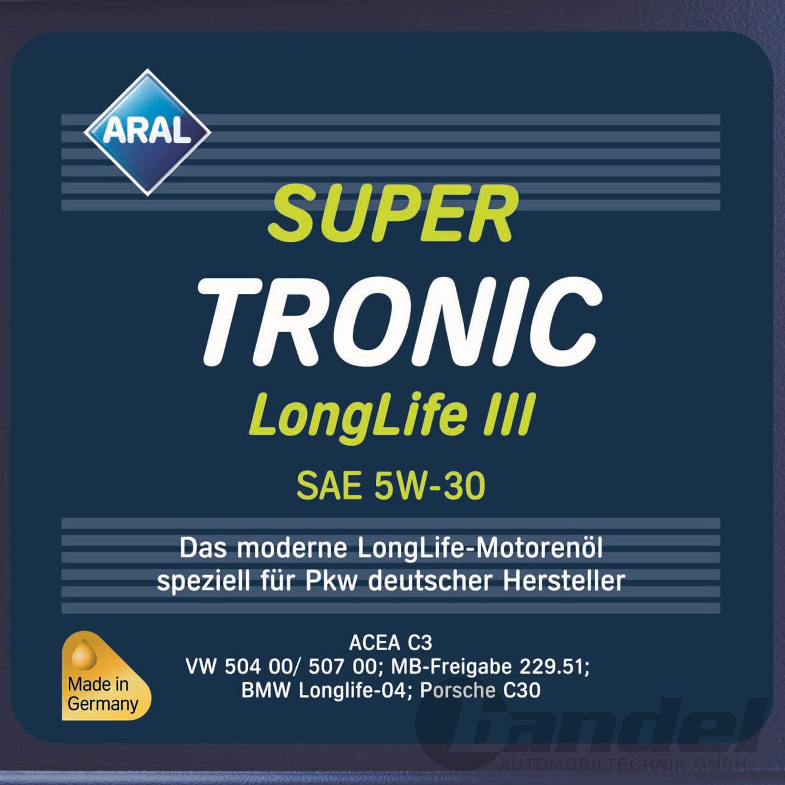 12 90 l 1 liter 5w 30 aral supertronic longlife 3 iii. Black Bedroom Furniture Sets. Home Design Ideas