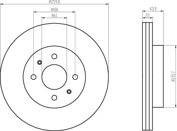 textar bremsscheiben 260mm bel ge vorne nissan micra note. Black Bedroom Furniture Sets. Home Design Ideas