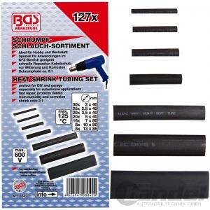 BGS SCHRUMPFSCHLAUCH-SORTIMENT 127-tlg. in Box schwarz Elektro Elektrik KFZ etc.