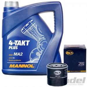 4L MANNOL 4-Takt PLUS MOTORRAD ÖL 10W-40 + ÖLFILTER für HONDA KAWASAKI YAMAHA