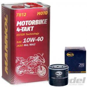 4L MANNOL 7812 ESTER 4-Takt MOTORRAD ÖL 10W-40 + ÖLFILTER HONDA KAWASAKI YAMAHA