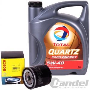 BOSCH ÖLFILTER + 5 Liter MOTORÖL TOTAL Quartz SAE 5W-40 ALFA FIAT LANCIA OPEL