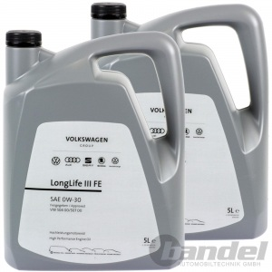 2x 5 LITER ORIGINAL VW 0W-30 LONGLIFE III 3 MOTORÖL NACHFOLGER 5W-30
