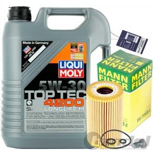 MANN ÖLFILTER+LIQUI MOLY TOPTEC 4200 5w30 AUDI SEAT SKODA VW 1.6 + 2.0 TDI