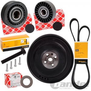 RIEMENSCHEIBE KURBELWELLE + ROLLEN + DIAMANT-SCHEIBE VW T4 BUS 2.5+TDI + 2.4 D