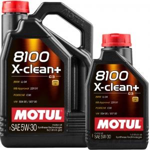 6-Liter MOTUL 8100 X-CLEAN+ C3 5W-30 AUDI BMW MERCEDES VW LONGLIFE LL MOTOR-ÖL