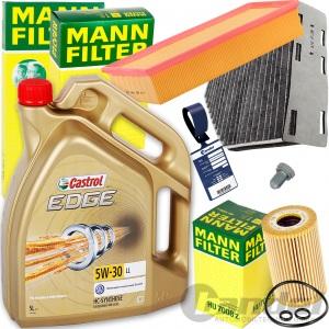 MANN FILTERSET+5L CASTROL 5W30 ÖL 1.6/2.0TDI AUDI A3 TT VW GOLF 6 PASSAT TOURAN