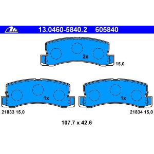 E11 COROLLA AZT22 ZZT22 AT22 ST22 ATE BREMSBELÄGE HINTEN TOYOTA AVENSIS