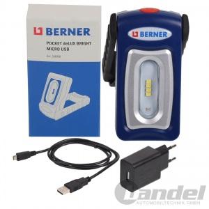 BERNER DELUX BRIGHT MICRO USB TASCHENLAMPE AKKU ARBEITSLEUCHTE + USB LADEGERÄT