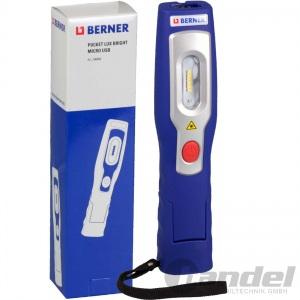 """BERNER Pocket Lux """"Bright"""" Li-Io AKKU MICRO USB TASCHENLAMPE ARBEITSLEUCHTE"""