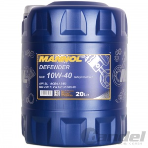[2,08€/L] 20 Liter SAE 10W-40 Mannol Defender Motoröl z.B.  VW, AUDI, MERCEDES