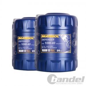 [2,04€/L] 2x20 Liter SAE 10W-40 Mannol Defender Motoröl z.B. VW, AUDI, MERCEDES