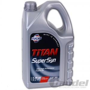 [5,18€/L] 5L FUCHS MOTORÖL TITAN SuperSyn 5W-40 VW 502.00/505.00 MB 229.3