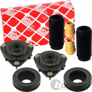 2x FEBI DOMLAGER+PROTECTION KIT VO. VORDERACHSE MAZDA 2 DY FORD FIESTA V