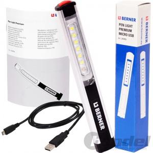 BERNER LED-LAMPE PEN-LIGHT PREMIUM USB LI-IO AKKU Werkstatt Inspektionslampe