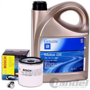 BOSCH ÖLFILTER F026407006 + 5 Liter MOTORÖL 5W-30 Genuine GM + Schraube Ope