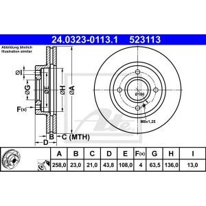 ate powerdisc bremsscheiben 258mm bel ge vorne ford. Black Bedroom Furniture Sets. Home Design Ideas