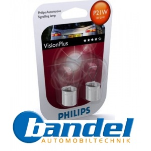 PHILIPS P21W VISION PLUS BREMSLEUCHTE 2er SET -12498VP- *NEU*