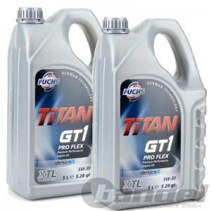 [4,99€/L] 2x5 LITER FUCHS TITAN GT1 PRO FLEX SAE 5W-30 MOTORÖL OPEL dexos 2