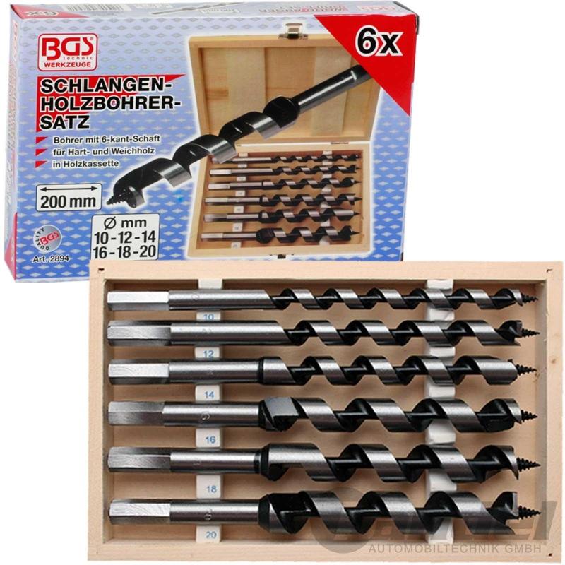 BGS SCHLANGENBOHRER-Ø 10-20mm HOLZ-BOHRER-SET 200mm WEICH-/ HARTHOLZ 6-tlg.