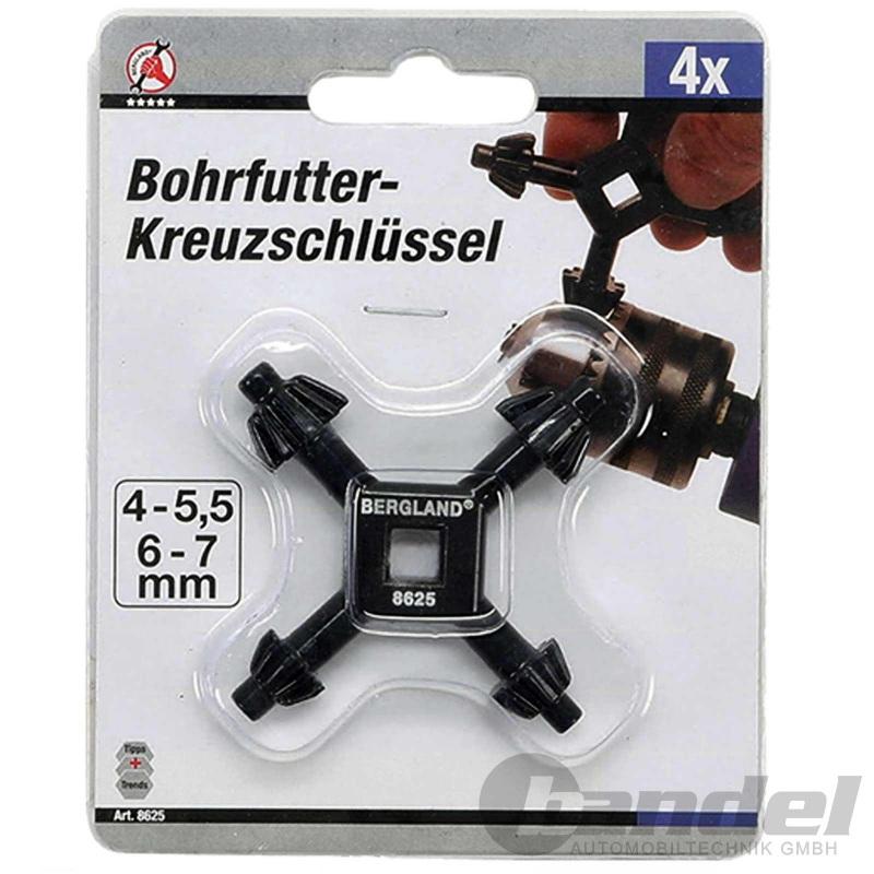 KM UNIVERSAL-BOHRFUTTER-KREUZ-SCHLÜSSEL METALL ZAHNKRANZ-Ø 4-5,5-6-7 mm