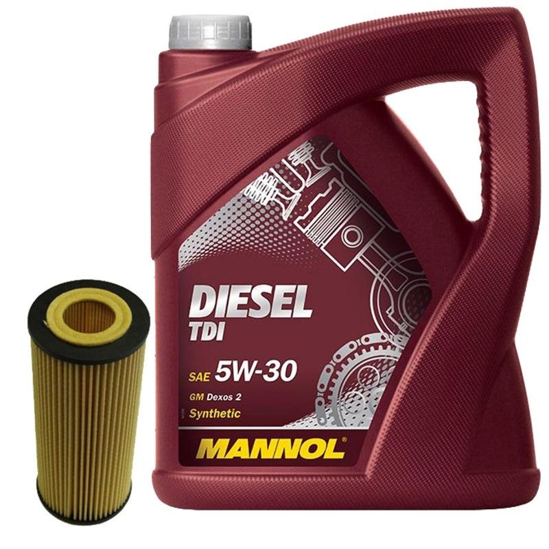 ÖLFILTER + 5 Liter Motoröl MANNOL DIESEL TDI SAE 5W-30 Synthetic AUDI VW SEAT