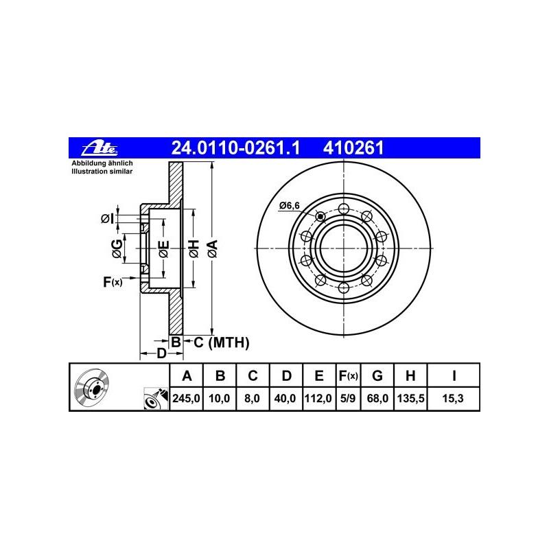 ATE Original 24.0110-0261.1 Bremsscheiben 2 Stk Scheibenbremsen HA hinten 410261